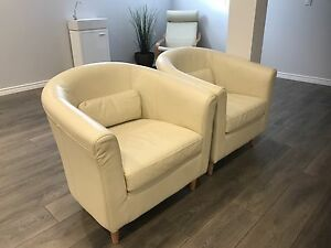 Almond color leather arm chair
