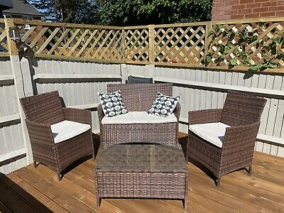 Garden Rattan 4 Piece Furniture Brown With Seat Covers. Used. Collection Only