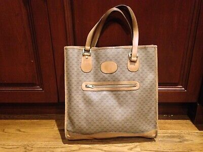 Vintage Gucci Italian Made Tan Leather & Signature GG Monogram Fabric Tote Bag