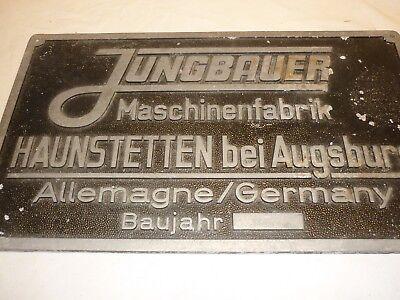 Vintage pressed / stamped Aluminium plaque, JUNGBAUER Maschinenfabrik Germany
