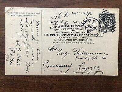 PHILIPPINES USA OLD POSTCARD MANILA TO GERMANY 1909 !!