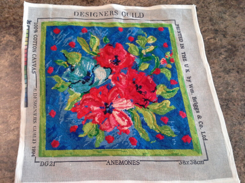 "Designers Guild ""Anemones"" 15.5x15.5"" completed needlepoint canvas"