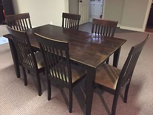 Dining table set w six chairs and matching buffet
