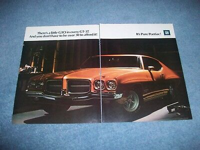 1971 Pontiac Gt 37 Vintage 2Pg Color Ad  Theres A Little Gto In Every Gt 37