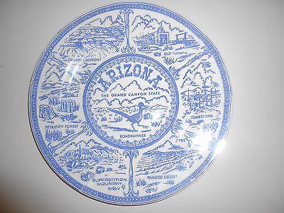 """Souvenir Plate ARIZONA Grand Canyon State Blue Transferware 9"""" Vintage"""