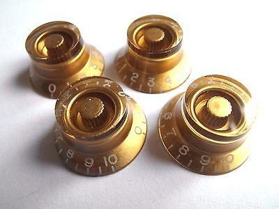 4 POTIKNÖPFE Bell Kunststoff gold transparent KG160