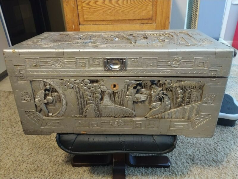 VINTAGE CHINESE CAMPHOR ORIENTAL CARVED WOOD Chest SAMPY CHEST OF WEALTH 1930s