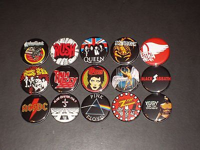 Assorted 70's Bands Buttons Pins Badges 15