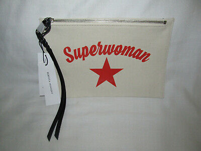 New Rebecca Minkoff SuperWoman Medium Zip Canvas Pouch Makeup Travel Bag Tote