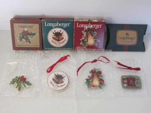 New Longaberger Holiday Basket Tie Ons Holly Pear Merry Christmas NIB