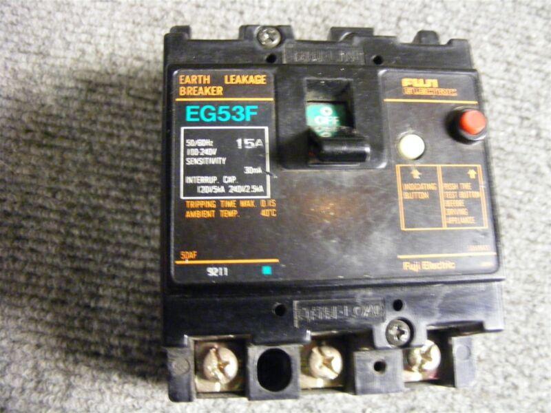 Fuji 15 Amp 3 Pole 100-240 VAC Earth Leakage Circuit Breaker Cat No. EG53F