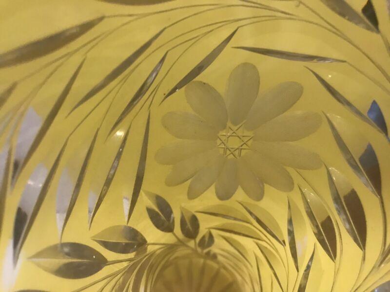"Antique Brilliant Cut Glass Crystal Vase 14"" Sawtooth Corset Vase"