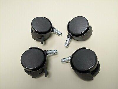 Grip Ring Stem 2 50mm Dia Twin Wheel Rotatable Chair Caster Black 4pcs Locking