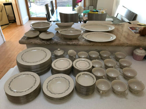 Pickard China Windsor 1200 Gray Scrolls Made In USA FULL SET - 96 items total