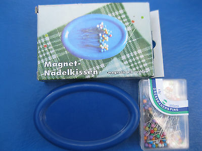"MAGNETIC SEWING PIN CUSHION HOLDER +  200  1 1/2 ""   COLOR QUILTING PINS"