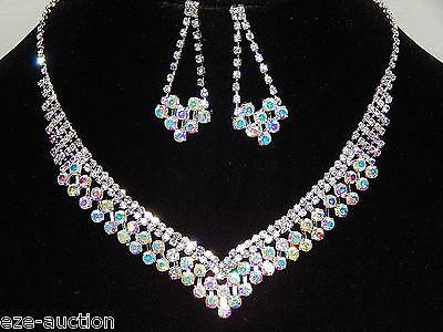 - Wedding Silver & AB Rainbow Aurora Borealis Rhinestone Necklace, Earrings Set