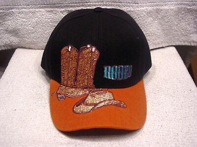 COWBOY HAT AND BOOTS RODEO BASEBALL CAP ( BLACK ) (Cowboy Hat And Boots)
