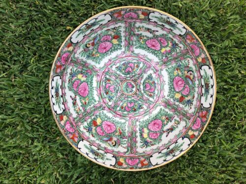 """Vintage Large Japanese Porcelain Bowl With Flowers,Bee and Butterfly Design  14"""""""
