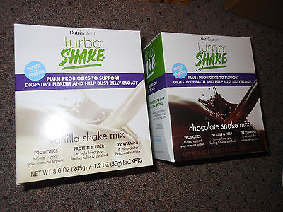 Nutrisystem Turbo Shakes Vanilla Or Chocolate Bust Belly Bloat Digestive Health