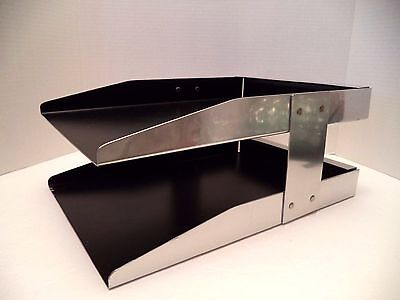 Vintage Chrome Black Steel Stacking Letter Desk Tray Organizer 2 Tier Executive