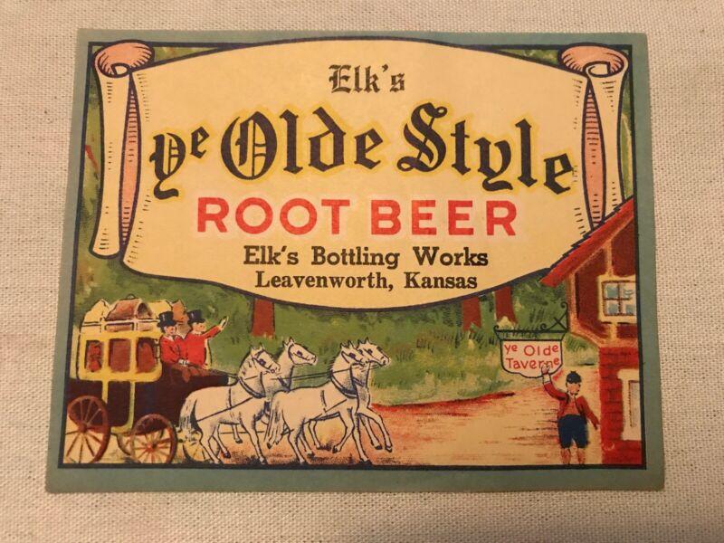 Ye Olde Style Root Beer Vintage Label, Leavenworth, Kansas