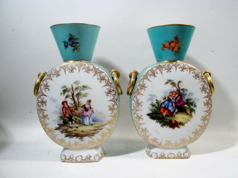 19thC Pr Helena Wolfsohn Augustus Rex Dresden Hand Painted Courting Couple Vases