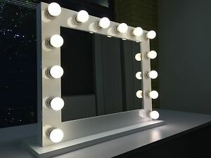 Hollywood Makeup Mirror With Lights Vanity Make UP Beauty Mirror Glossy White