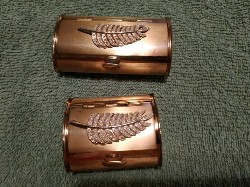 1930-40s Kotler & Kopit unused deco rhinestone powder compact & lipstick case