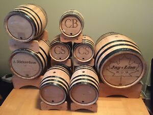 Mini wine/whiskey barrels.