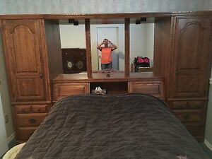 Queen bed frame and storage unit