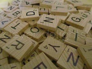 SCRABBLE TILES - New Set of 100 Wood Pieces - Full Game Set - Scrabble Letters