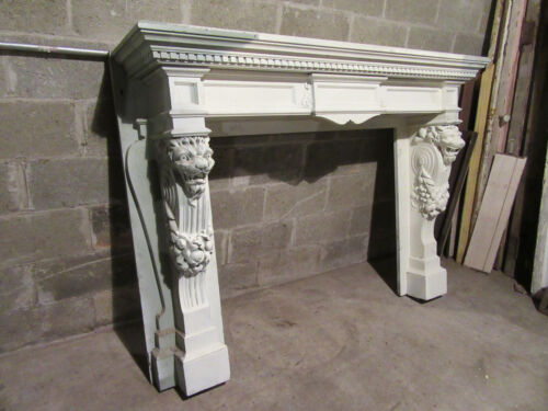 ~ AMAZING ANTIQUE FIREPLACE MANTEL WITH CARVED LIONS AND FESTOONS ~ MAHOGANY
