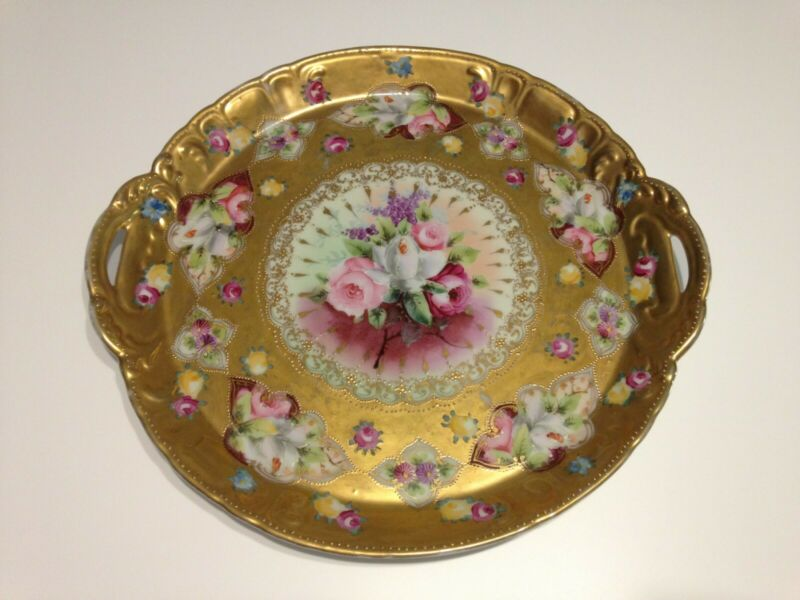 "Antique Nippon Hand Painted Floral Gold Gilt Moriage 2 Handled 12"" Plate/Tray"