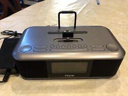 iHome iDL100 Clock w/ Dual Lightning Dock, FM Stereo, Dual Alarm, USB Charger