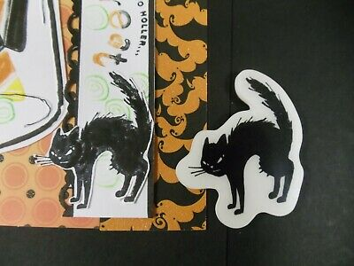 Scary Cats For Halloween (RUBBER HALLOWEEN stamp - ARCHED SCARY BLACK CAT for use CAPTION SCENERY)