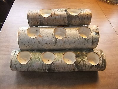 Birch Wood Fireplace Logs 9 Tea Light Candle Holder Rustic Cabin/Mantle Decor