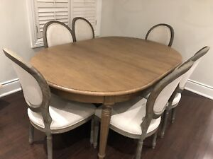 Restoration Hardware dining set :Oak wood table &6 chairs