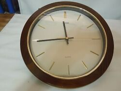 Sunbeam Quartz Wall Clock Wood Frame Glass Lens 12 Diameter Made in USA