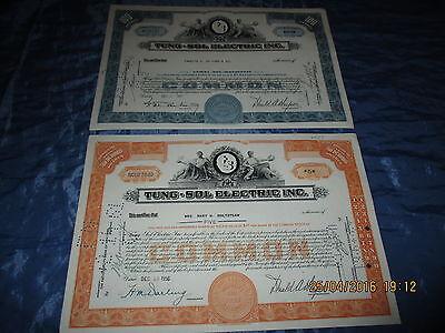 212 : Wertpapier / Aktie  USA , TUNG - SOL  ELECTRIC ,  Dezember 1956 + 1960