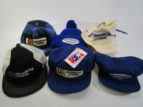 Vintage lot of 6 Hoegemeyer Hybrids K-Products Patch trucker Cap Hat Snap Back