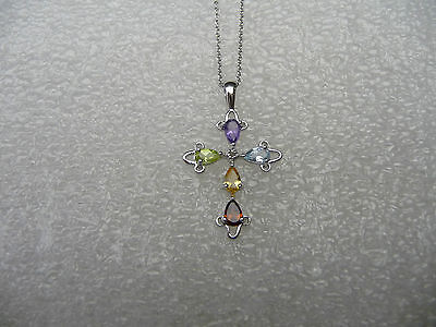 Mixed Gem Necklace - #382# .925 Sterling Silver Cross Mixed Color Pear CZ Gem Stone Pendant Necklace