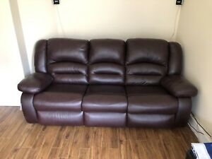 Dark Brown leather reclining couch