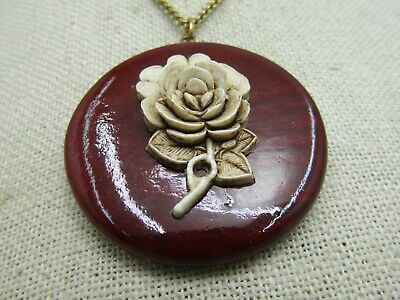60s -70s Jewelry – Necklaces, Earrings, Rings, Bracelets Vintage Faux Carved Rose on Wood Necklace, 18