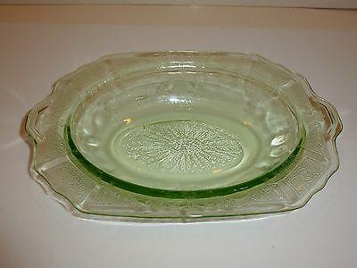 Vintage Hocking Princess Green Depression Glass Oval Vegetable Serve Bowl