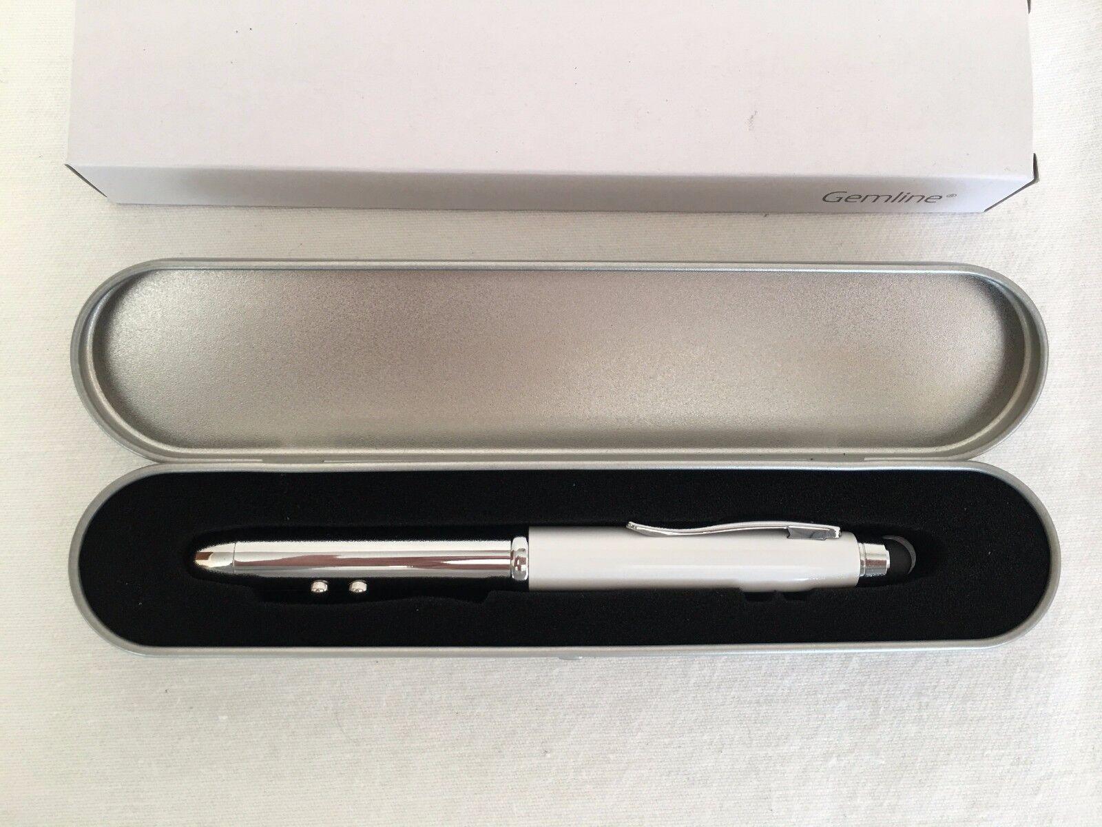 Stylus LED Light Ball Pen 4 in 1 PDA Pen Red Laser Pointer NEW in Box & Tin