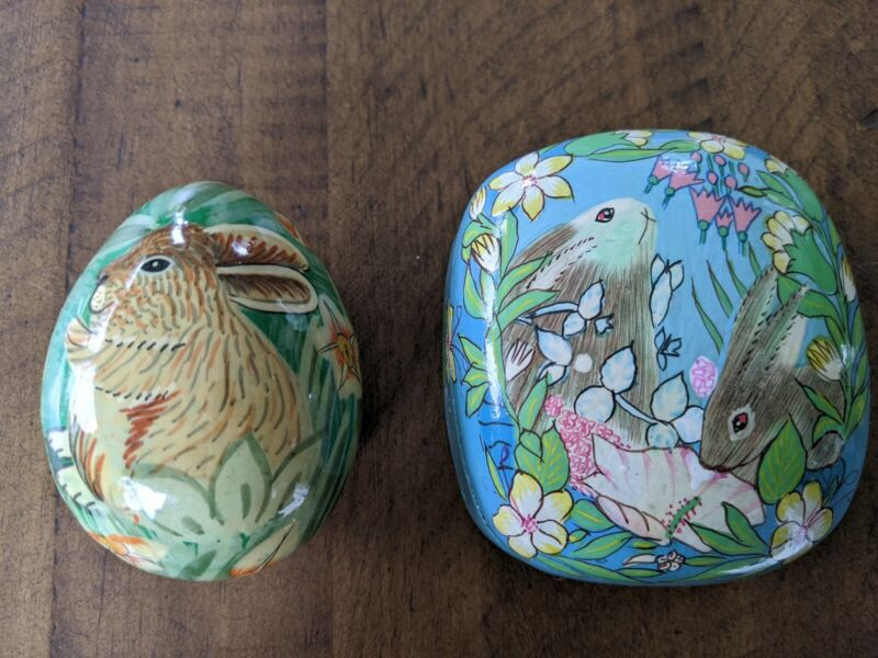 Vintage Paper Mache Easter Egg BUNNIES Spring India Trinket Boxes