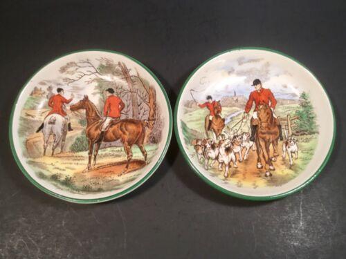 Antique Vintage Copeland Spode Equestrian English Horses Hound Butter Pats Set 2