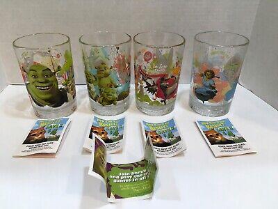 Shrek the Third Set Of 4 Vintage Drinking Glasses McDonald's 2007 w/brochures