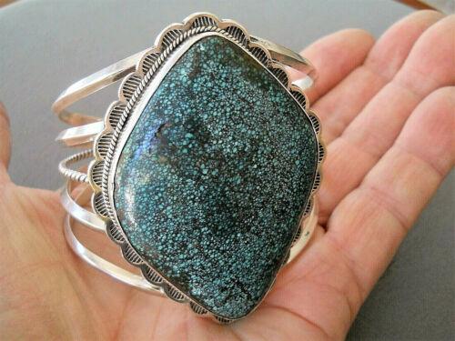Southwestern Style Diamond Black Webbed Turquoise Sterling Silver Bracelet