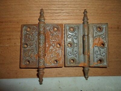 antique cast iron steeple hinges, Eastlake  / Victorian period # 6